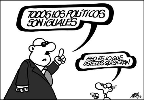Viñeta del gran Forges ironizando con el mantra de que todos los políticos son iguales. (https://15mpedia.org/wiki/Archivo:Todosnosoniguales.jpeg)